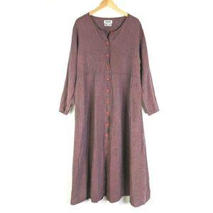 Flax Linen Long Sleeve Maxi Dress Womens L